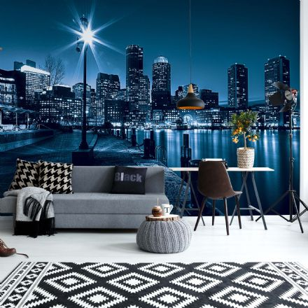 Blue city skyline at night wall mural